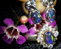 27.70 CTS OPAL TRIPLET SILVER JEWELRY SET-RING AND EARRINGS [SOJ6406]