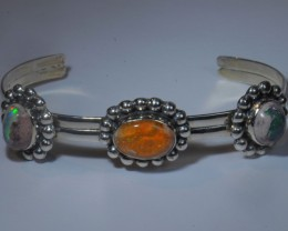 Mexican Matrix Large Opal  Sterling Cuff