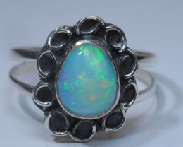 SZ7 ETHIOPIAN SOLID CRYSTAL OPAL HIGH QUALITY .925 STERLING FABULOUS RING
