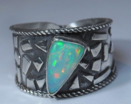 SZ10 ETHIOPIAN SOLID CRYSTAL OPAL HIGH QUALITY .925 STERLING FABULOUS RING