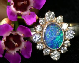 9 SIZE 20.40 CTS FIREY OPAL  DOUBLET RING SILVER WITH CUBIC ZICONIA[SOJ6426