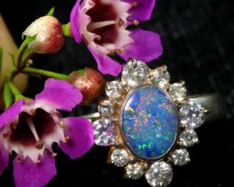 8 SIZE 18.90 CTS FIREY OPAL  DOUBLET RING SILVER WITH CUBIC ZICONIA6[SOJ643