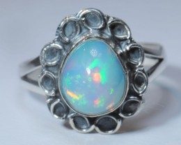 SZ7 ETHIOPIAN WELO OPAL HIGH QUALITY .925 STERLING FABULOUS RING