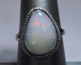 SZ7 ETHIOPIAN LARGE WELO OPAL HIGH QUALITY .925 STERLING FABULOUS RING