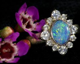 7 SIZE  FIREY OPAL  DOUBLET RING SILVER WITH CUBIC ZICONIA[SOJ6445]