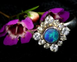 9 SIZE  FIREY OPAL  DOUBLET RING SILVER WITH CUBIC ZICONIA[SOJ6451]