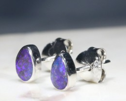 Natural Australian Solid Boulder Opal Silver Stud Earrings