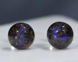 Natural Australian  Solid Boulder Opal Silver Stud Earring