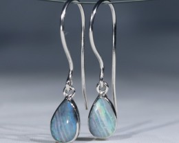 Australian Solid  Boulder Opal Silver Earrings