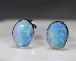 Australian Solid  Boulder Opal Silver Earring  Studs
