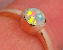 1.5g 14k Rose Gold Natural Australian Opal Ring Solid Gem Crystal Solitaire