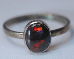RING SOLID CRYSTAL OPAL HIGH QUALITY .925 STERLING SILVER