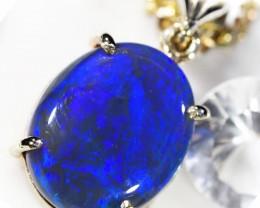 BLUE- BLACK OPAL  18 KWHITE  GOLD  PENDANT  CK 94