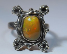 Sz SOLID CRYSTAL OPAL HIGH QUALITY .925 STERLING FABULOUS RING