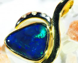 Dark Blue Flash Solid Black Opal 18K Gold Pendant SCO184