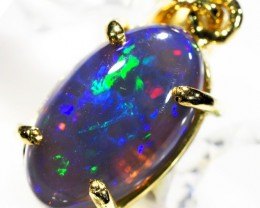 Turqoiuse Fire Flash Solid Black Opal 18K Gold Pendant SCO179