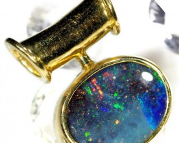 Deep Blue Fire Flash Boulder Opal Pendant SCO46
