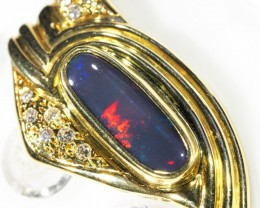 Solid Black Opal Multi Colour Flash Gold Pendant SCO65