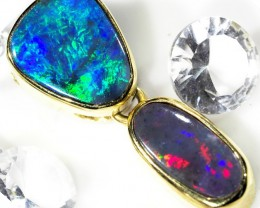 EXQUISITE 2 PIECE SOLID BLACK OPAL PENDANT SCO69