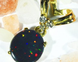 Multi Colour Fire Flash Solid Black Opal Pendant SCO62