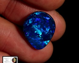 7.65 carat Lightning Ridge doublet opal pear cut Blue Green fire