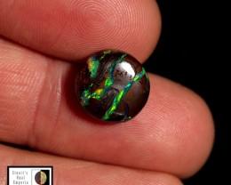 6.50 carat round Koroit Boulder opal Lightning green fire