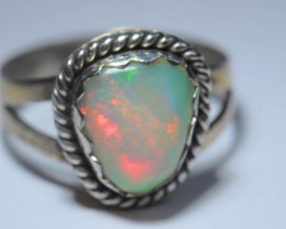 SOLID NATURAL  OPAL HIGH QUALITY .925 STERLING FABULOUS RING