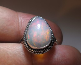 SZ8 LARGE  ETHIOPIAN  WELO OPAL HIGH QUALITY .925 STERLING FABULOUS RING
