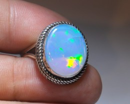 SZ8 ETHIOPIAN LARGE WELO OPAL HIGH QUALITY .925 STERLING FABULOUS RING SPEC