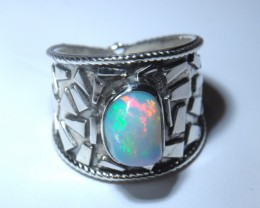 SZ6 ETHIOPIAN WELO OPAL HIGH QUALITY .925 STERLING FABULOUS RING