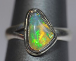 4sz Midi Ring Solid Opal .925 Sterling