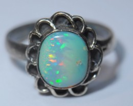 8sz Ring Solid Opal .925 Sterling