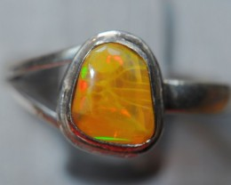 7.5sz Ring Solid Opal .925 Sterling