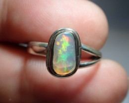 7sz Ring Solid Opal .925 Sterling