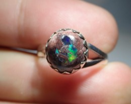 6sz Ring Solid Opal .925 Sterling