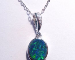 ON SALE was US$171 Pretty Australian Doublet Opal and Sterling Silver Penda