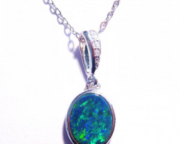 Pretty Australian Doublet Opal and Sterling Silver Charm Pendant