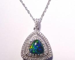 Australian Triplet Opal, Cubic Zirconia and Sterling Si