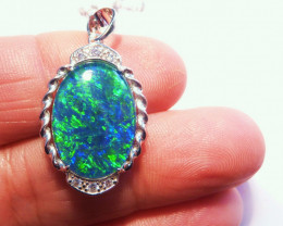 Australian Opal, Cubic Zirconia and Sterling Silver Pendant,