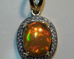 13.55 ct 18k Solid Yellow Gold Diamond Pendant Top Gem Rainbow Crystal Opal