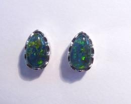 ON SALE was US$125 Pretty Australian Triplet Opal and Sterling Silver Earri