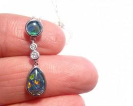 Pretty Australian Opal, Cubic Zirconia and Sterling Silver Pendant