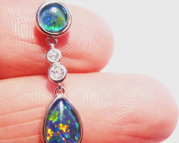 Pretty Australian Opal, Cubic Zirconia and Sterling Silver Pendant