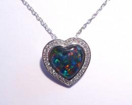 ON SALE was US$139 Pretty Australian Opal, CZ and Sterling Silver Heart Pen
