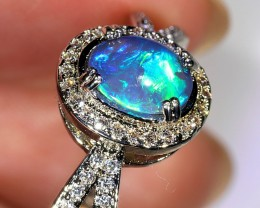 0.55ct 7x5mm Solid Dark Opal White Gold Plated CZ Ring Size 10 [GPC-008]