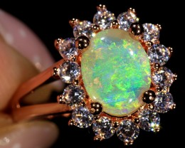 0.95ct 8x6mm Solid Crystal Opal 18K Rose Gold Plated CZ Ring Size 6.5 [GPC-
