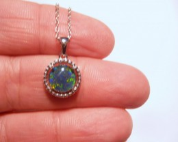 ON SALE was US$99 Pretty Australian Opal and Sterling Silver Pendant (3250)