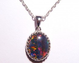 Pretty Australian Triplet Opal and Sterling Silver Pendant