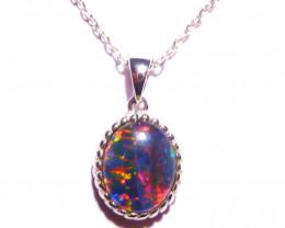 Pretty Australian Triplet Opal and Sterling Silver Pendant Charm