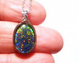 Pretty Australian Opal and Sterling Silver Pendant